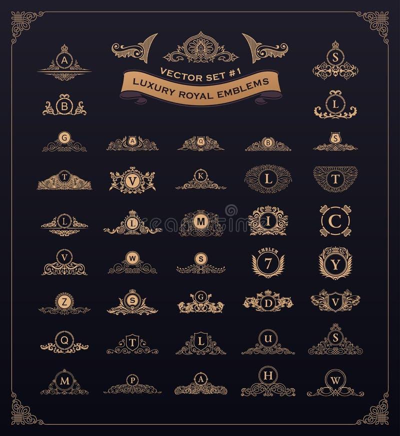 豪华皇家商标集合 冠,象征,纹章学组合图案 葡萄酒茂盛元素 皇族释放例证