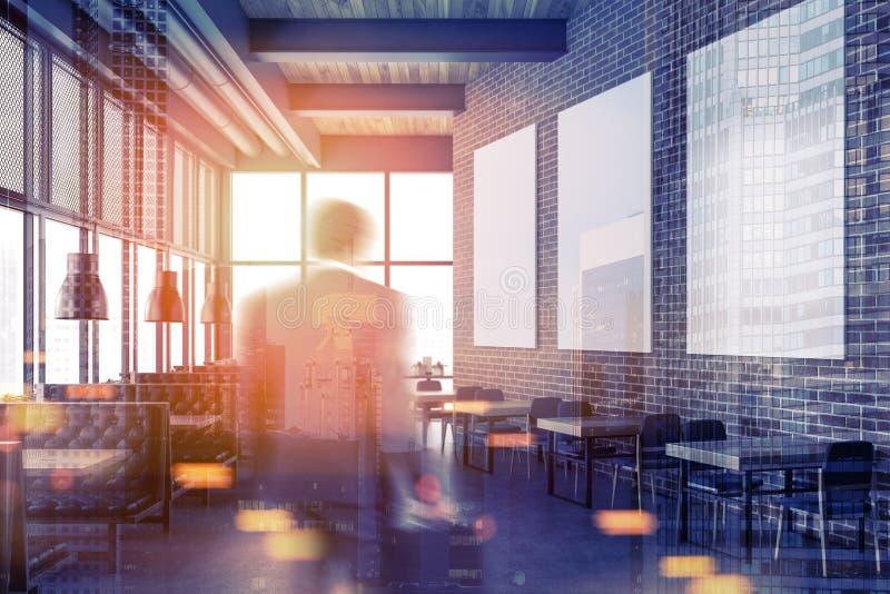 豪华砖餐馆,被定调子的海报画廊 图库摄影