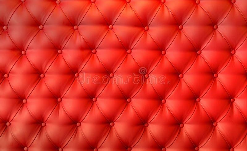 豪华红色皮革坐垫特写镜头背景 免版税库存照片