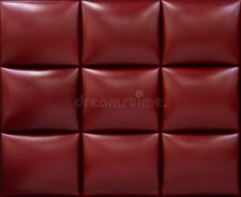 豪华红色皮革盘区 软的皮革盘区 皮革纹理 库存图片