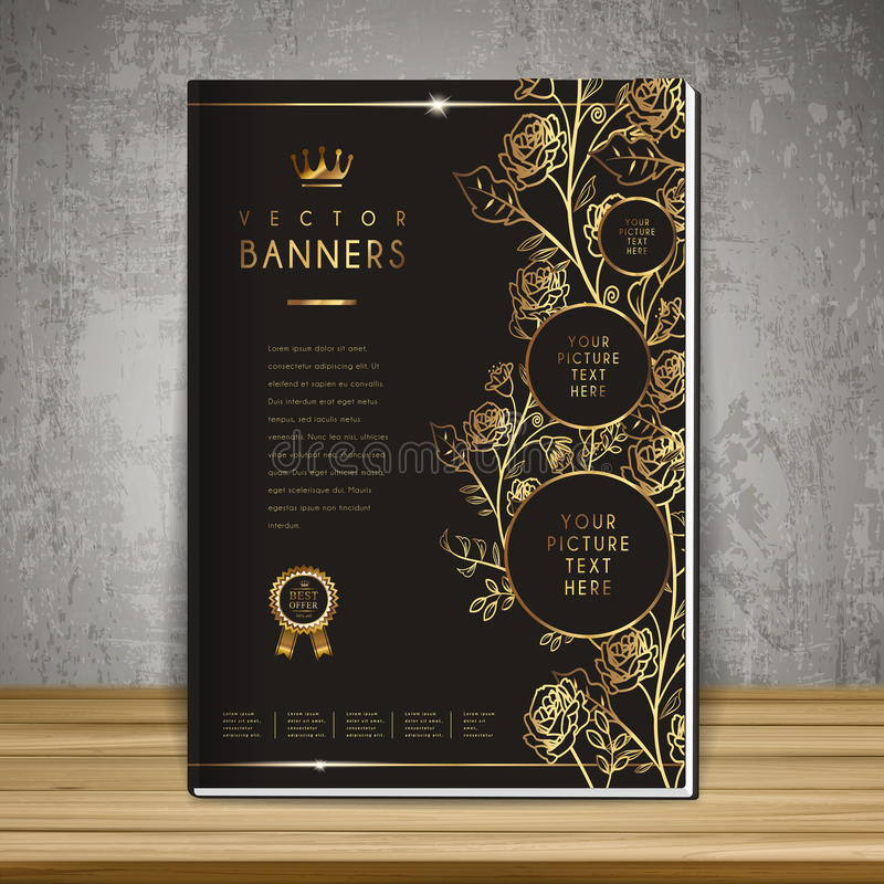 豪华花卉书套模板设计 皇族释放例证