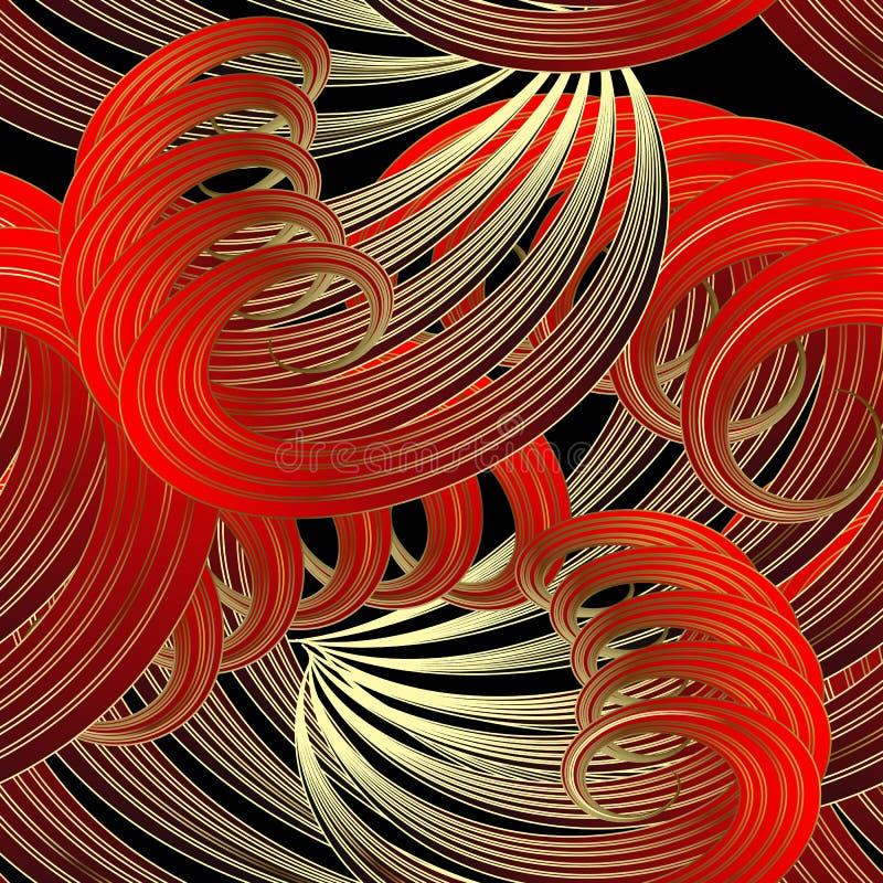 豪华花卉幻想传染媒介无缝的样式 扇形漩涡,曲线,波浪 抽象红色金镶边线艺术网眼图案 库存例证