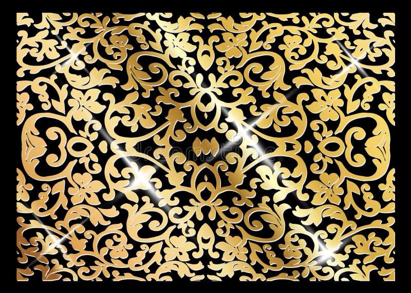 豪华葡萄酒传染媒介卡片 与美好的装饰品和金框架的黑背景 金黄华丽装饰 线艺术,鞋带 向量例证