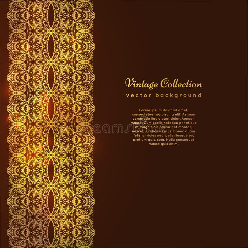 豪华葡萄酒传染媒介卡片 与美丽的金黄装饰品的黑暗的背景,鞋带边界框架 金皇家模板 向量例证
