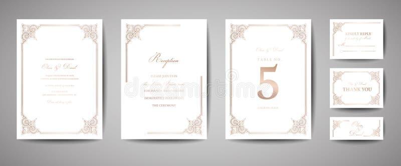 豪华葡萄酒婚礼救球日期,邀请拟订与金箔框架和花圈的汇集 时髦盖子,图表 库存例证