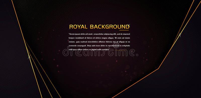 豪华设计在与发光的金黄边界的黑暗的背景中 库存例证