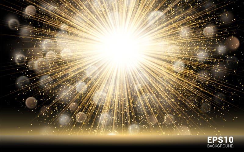 豪华设计 在黑背景的金子爆炸 光亮的行动假日夜总会&党卡片 向量例证