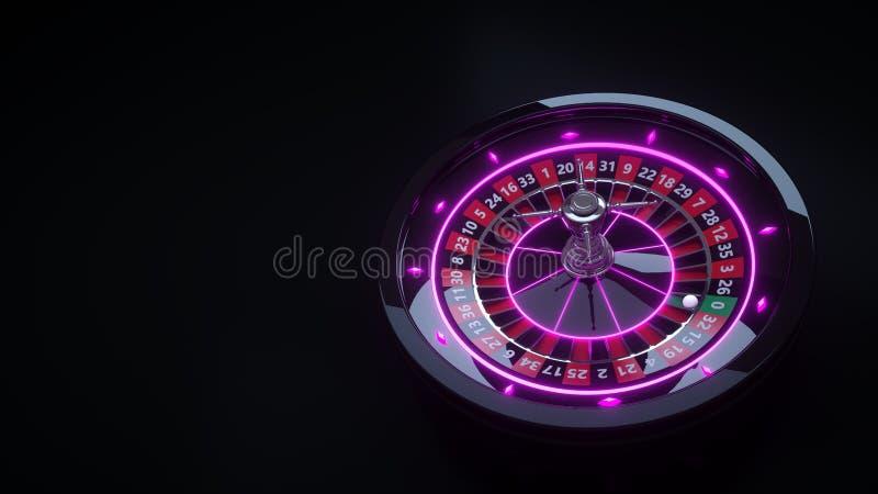 豪华赌博娱乐场赌博的轮盘赌的赌轮3D现实与霓虹灯- 3D例证 皇族释放例证