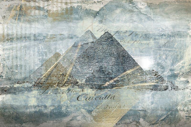 豪华金蓝色金字塔 数字式艺术摘要绘画 免版税库存图片