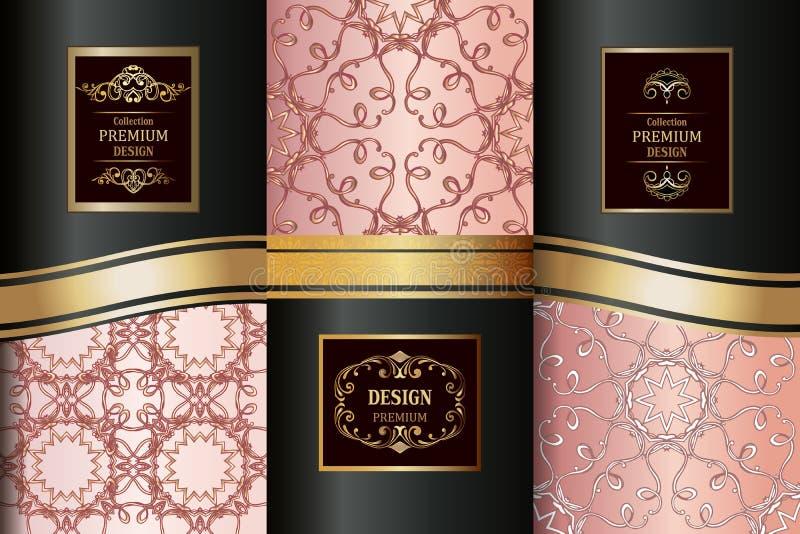 豪华金黄样式的汇集 汇集东方无缝的样式 金黄葡萄酒设计元素 典雅的装饰orn 皇族释放例证
