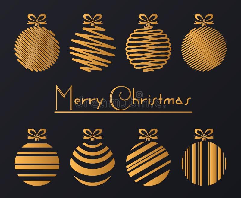 豪华金黄球装饰的传染媒介例证 看板卡快活圣诞节的问候 向量例证