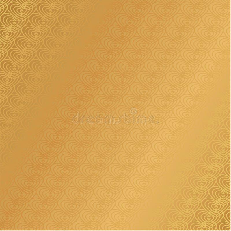 豪华金黄背景转折墙纸心脏样式 皇族释放例证