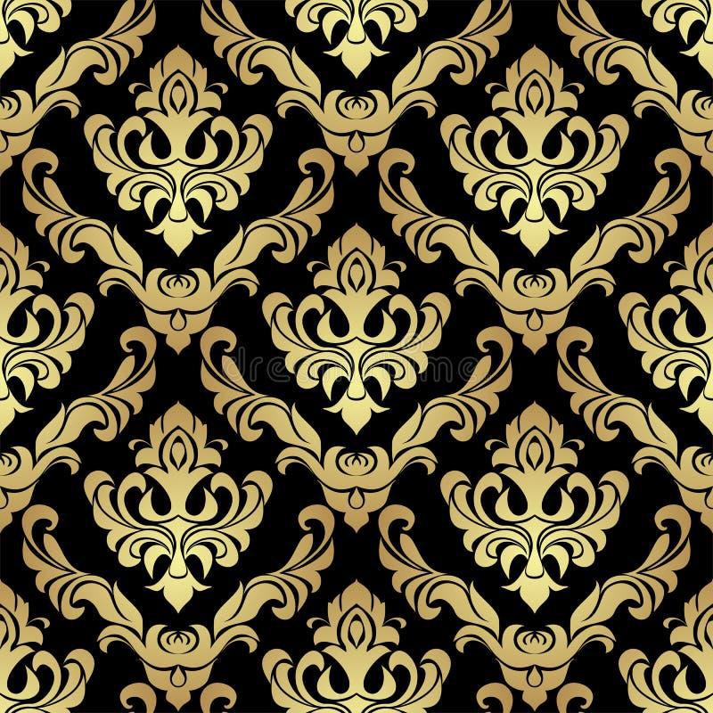豪华金黄设计的锦缎无缝的Wallpaperon黑色 库存例证