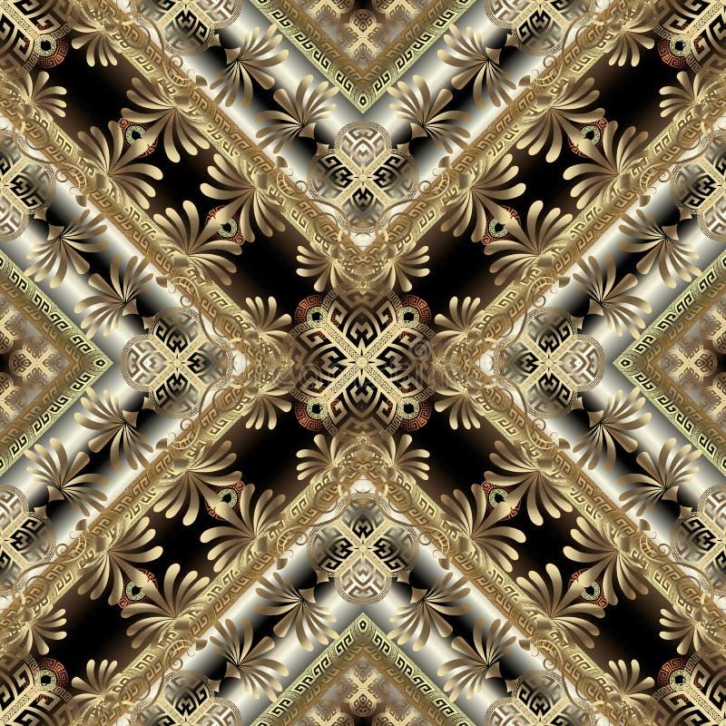 豪华金3d花卉希腊无缝的样式 华丽几何装饰背景 金黄花,漩涡线,几何 皇族释放例证