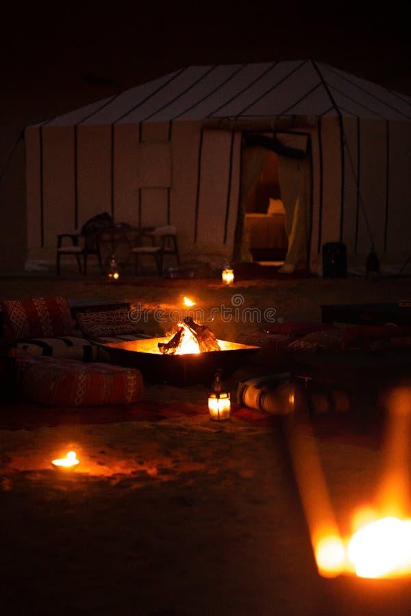 豪华阵营在撒哈拉大沙漠 免版税库存照片