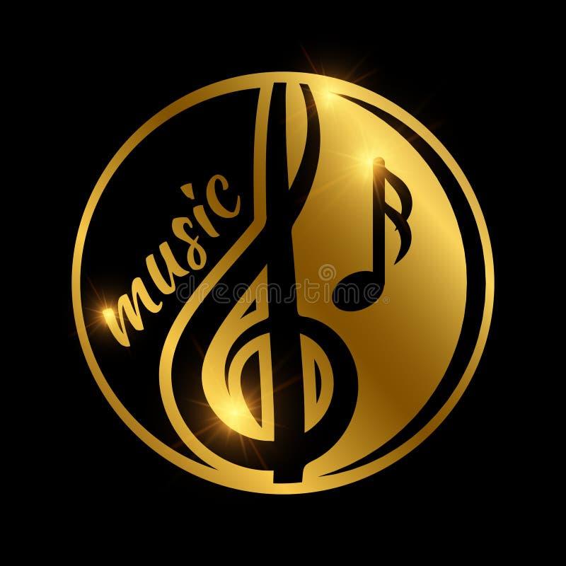 豪华音乐商标设计-金黄发光的音乐象征 库存例证