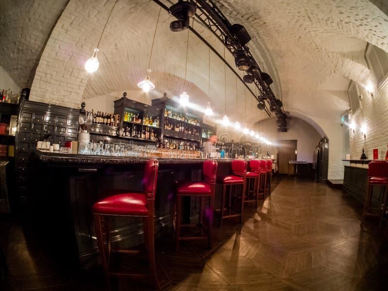 豪华餐馆Aragvi酒吧在莫斯科,俄罗斯 库存图片