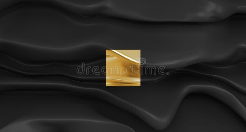 豪华黑与金黄正方形的背景抽象形状 流动的光滑的黑形状 抽象熔化的墙壁 皇族释放例证