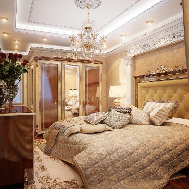 豪华经典巴洛克式的卧室内部Desig 库存例证