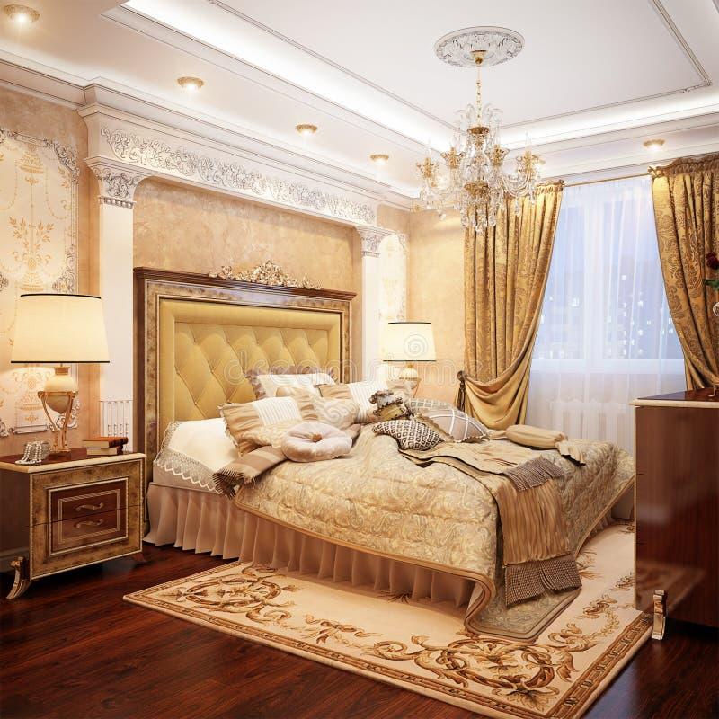 豪华经典巴洛克式的卧室内部Desig 皇族释放例证