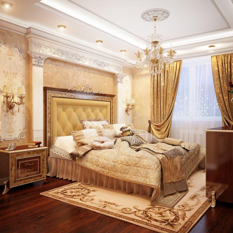 豪华经典巴洛克式的卧室内部Desig 向量例证