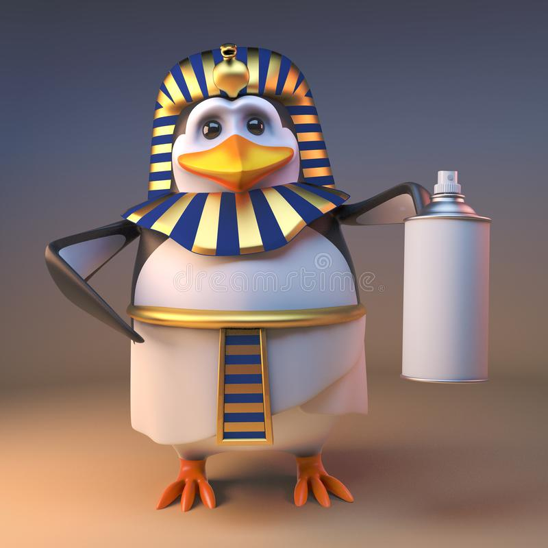 豪华3d企鹅法老王拿着烟雾剂喷射罐头,3d的Tutankhamun例证 向量例证