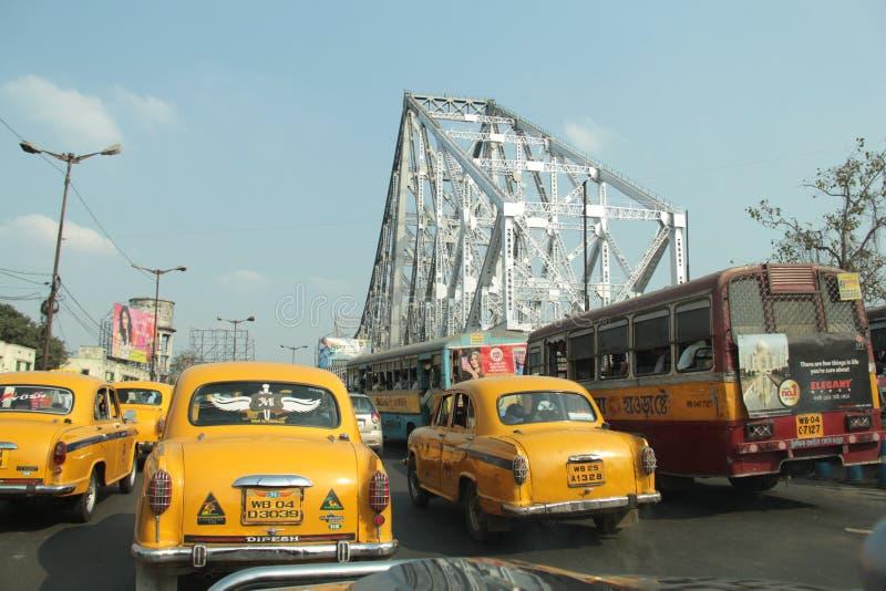 豪拉桥梁在加尔各答 库存图片