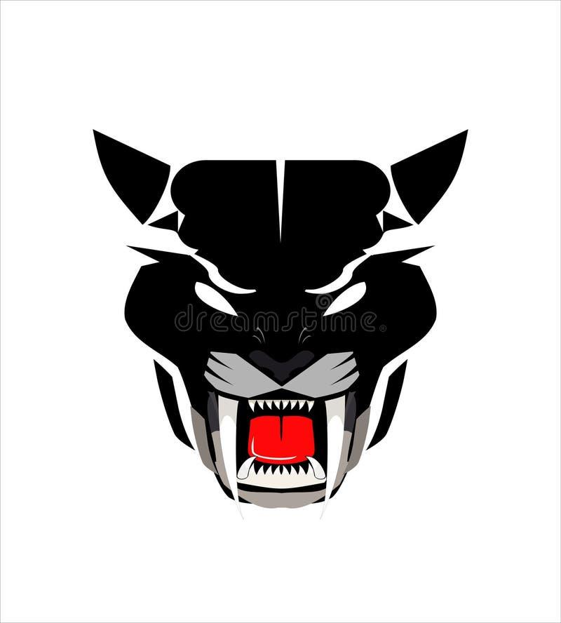 豹头,狂放的猫头 皇族释放例证