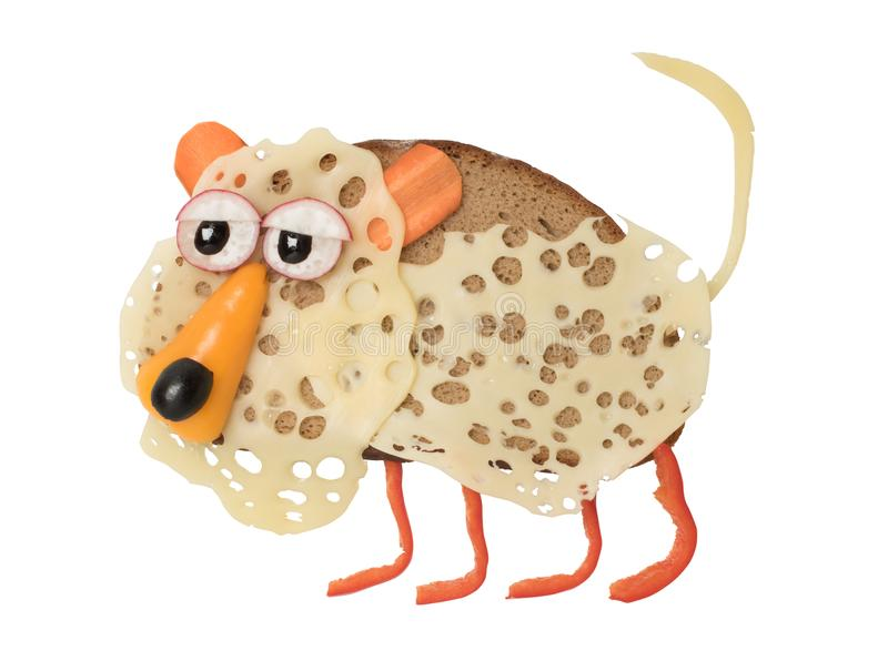 豹子做用黑面包、乳酪和菜 库存照片