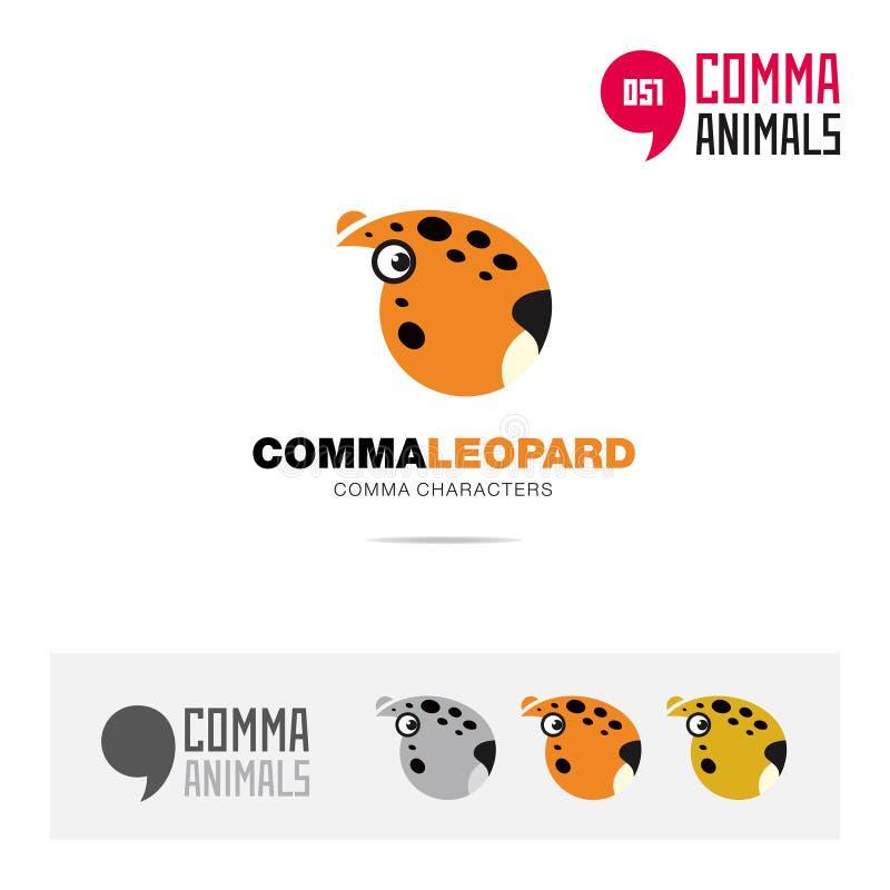 豹子动物概念象集合和现代品牌身份商标模板和根据逗号的app标志签字 皇族释放例证