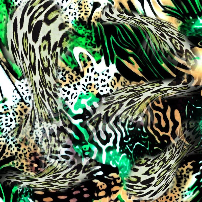 豹子和斑马背景 库存例证