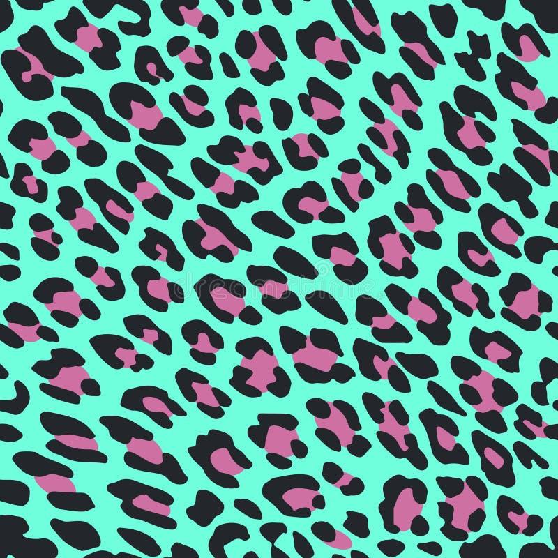 豹子在蓝色背景的皮肤印刷品 向量例证
