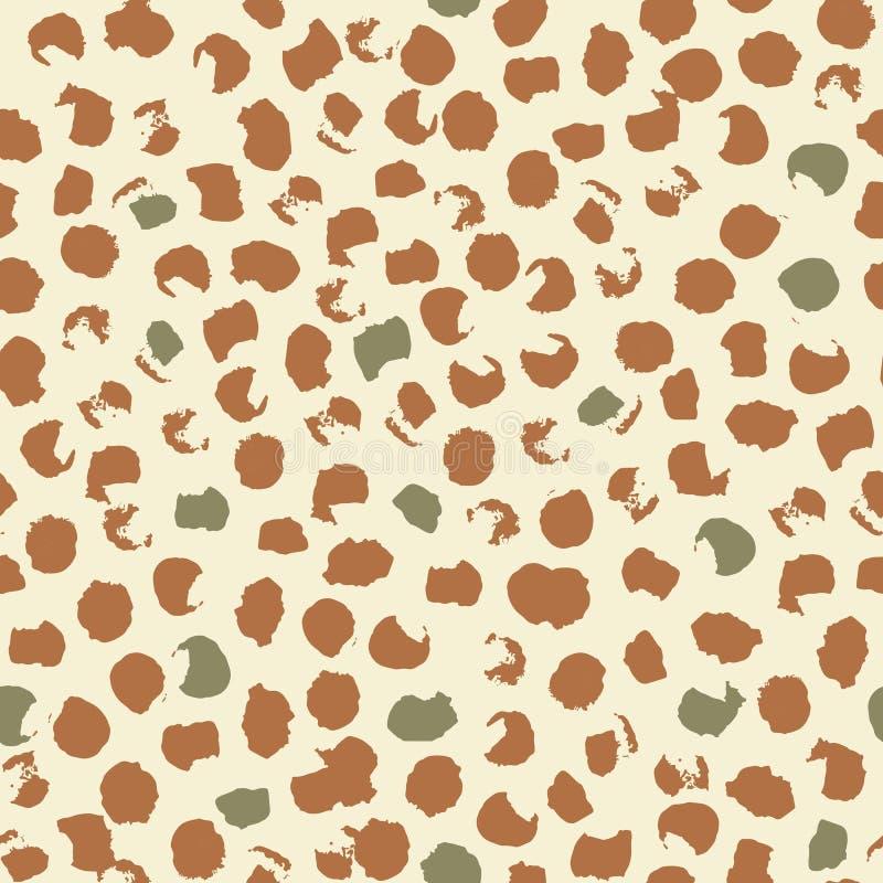 豹子斑点的抽象无缝的样式 墨水和刷子 拉长的现有量 库存例证