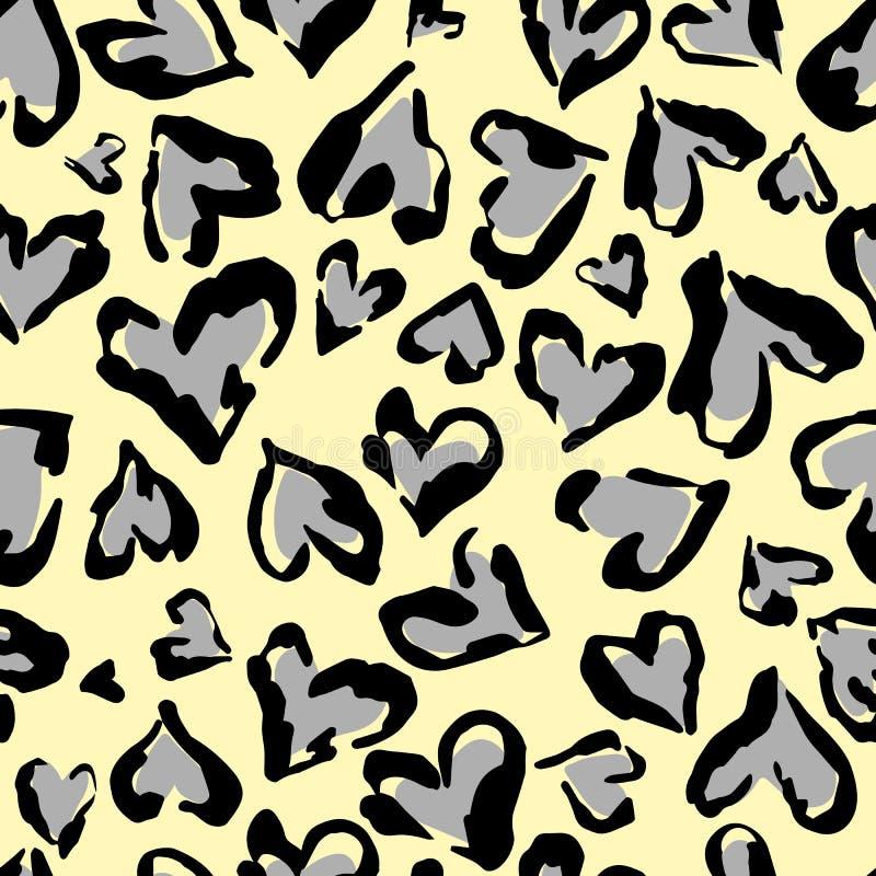 豹子样式 无缝的传染媒介印刷品 抽象重复的样式-心脏豹子皮肤模仿在衣裳可以被绘或很好 库存例证