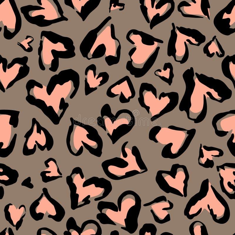 豹子样式 无缝的印刷品 抽象重复的样式-心脏豹子皮肤模仿在衣裳可以被绘或很好 库存例证