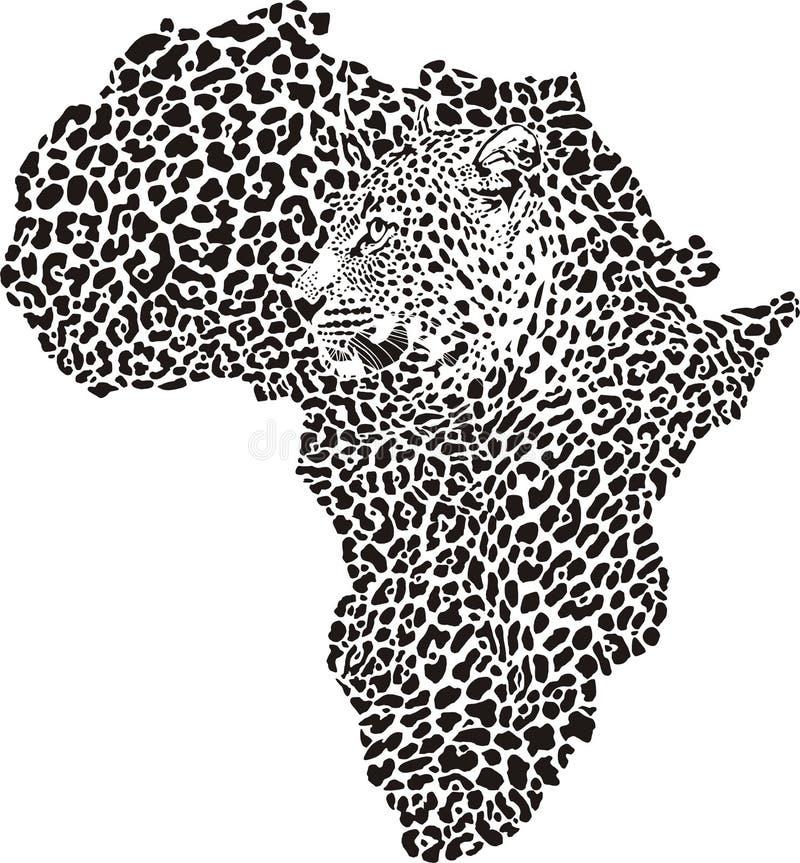 豹子皮肤和头在剪影非洲 库存例证