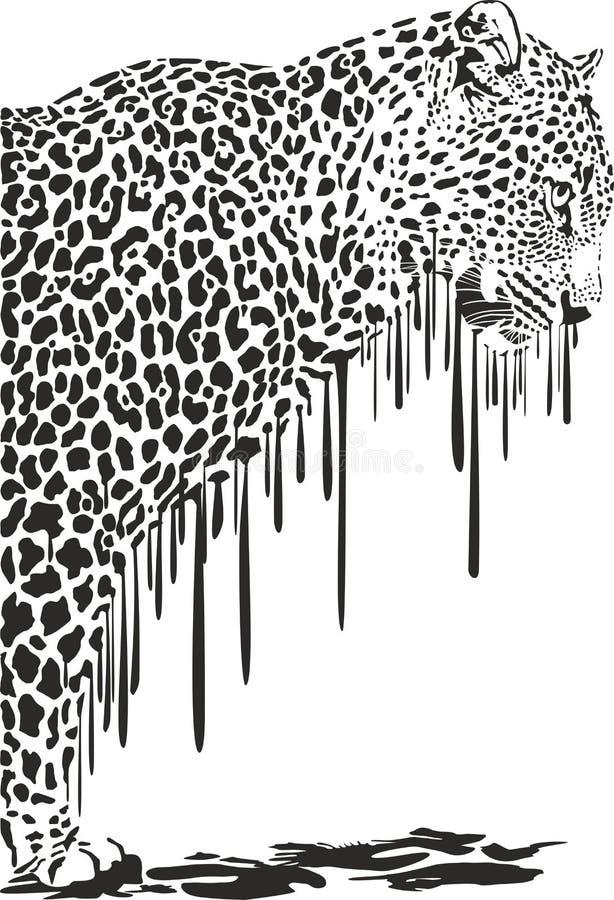 豹子,抽象绘画 向量例证