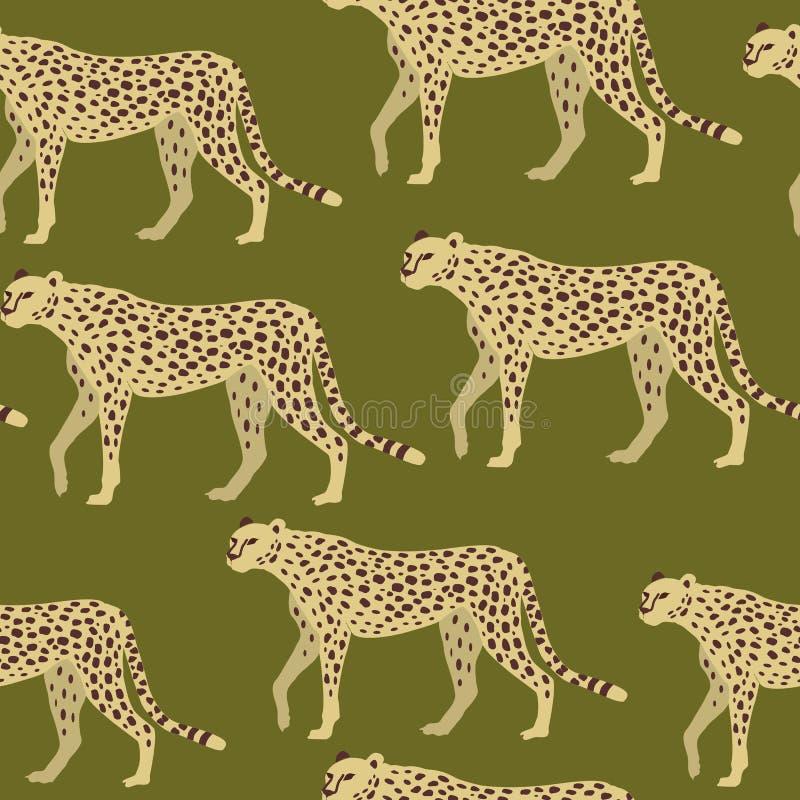 豹子,猎豹表面样式,豹伪装纺织品设计的,织品打印,固定式,包装,Wa重复样式 库存例证