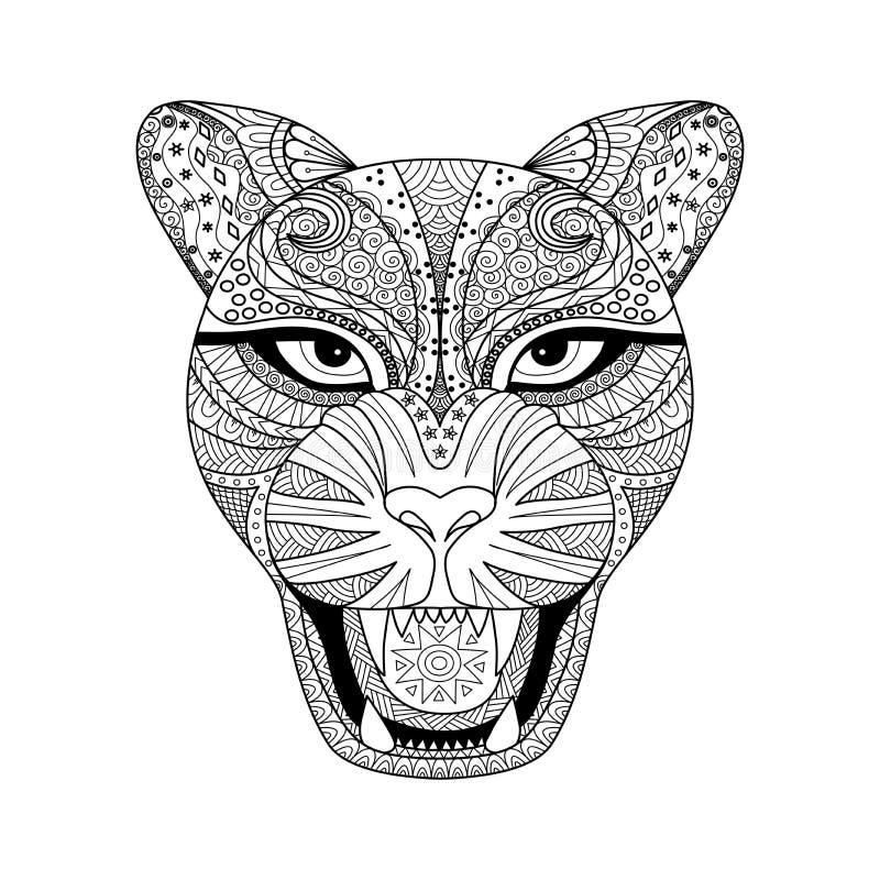豹子T恤杉、纹身花刺或者彩图的zentagle样式 库存图片