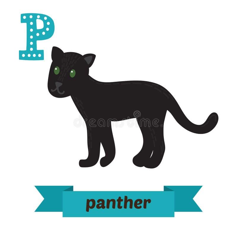 豹 P信件 逗人喜爱的在传染媒介的儿童动物字母表 Funn 向量例证