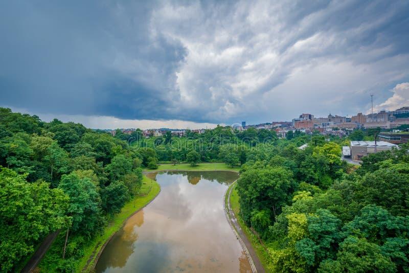 豹Hollow湖,在Schenley公园,匹兹堡,宾夕法尼亚 免版税库存图片