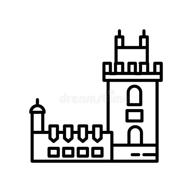 贝伦塔在白色背景、贝伦塔标志、线或者线性标志隔绝的象传染媒介,在概述样式的元素设计 向量例证