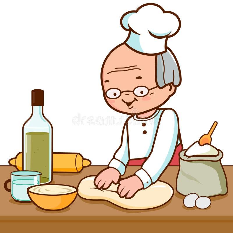 贝克揉的面团和制造面包在面包店厨房里 库存例证
