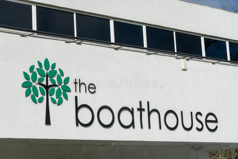贝克斯利希斯,肯特/英国- 2019年3月25日:Danson公园船库地点商标 免版税库存图片