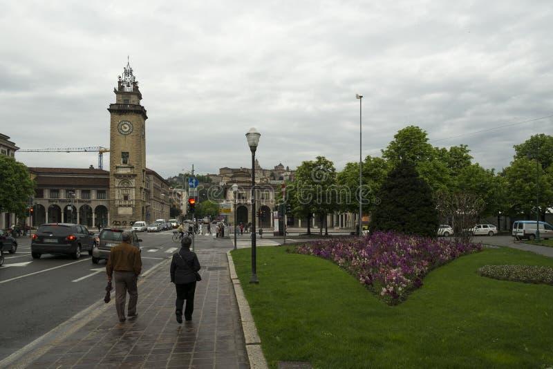 贝加莫市,意大利 免版税库存图片