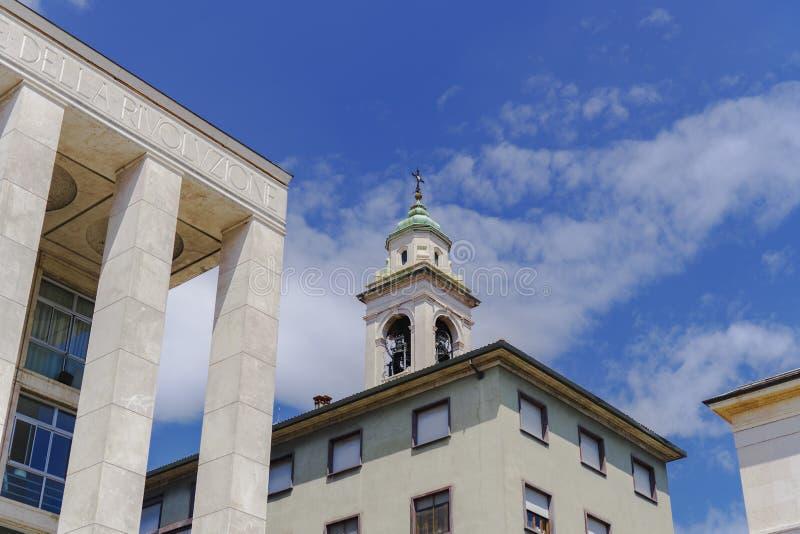 贝加莫,意大利专区大厦细节 免版税图库摄影