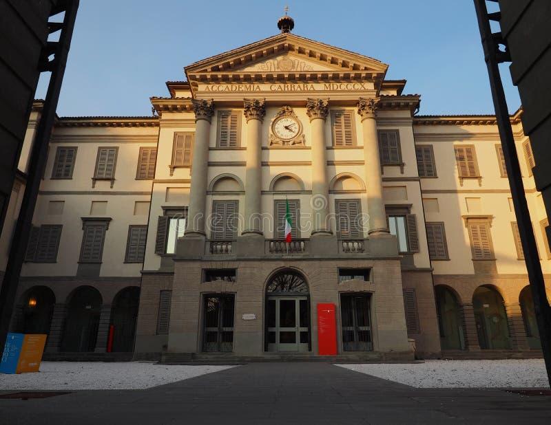 贝加莫, 2018年1月24日:accademia卡拉拉是美术画廊和艺术的学院在贝加莫 伦巴第,意大利, 24个JANU 免版税库存图片