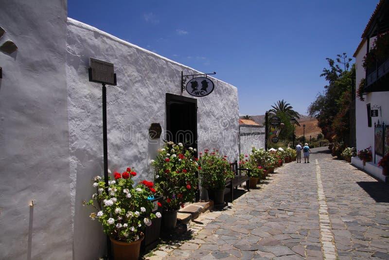 贝坦库里亚,费埃特文图拉岛-朱安14 2019年:沿街道有公共厕所的在传统白色房子里和罐的看法有五颜六色的 库存图片