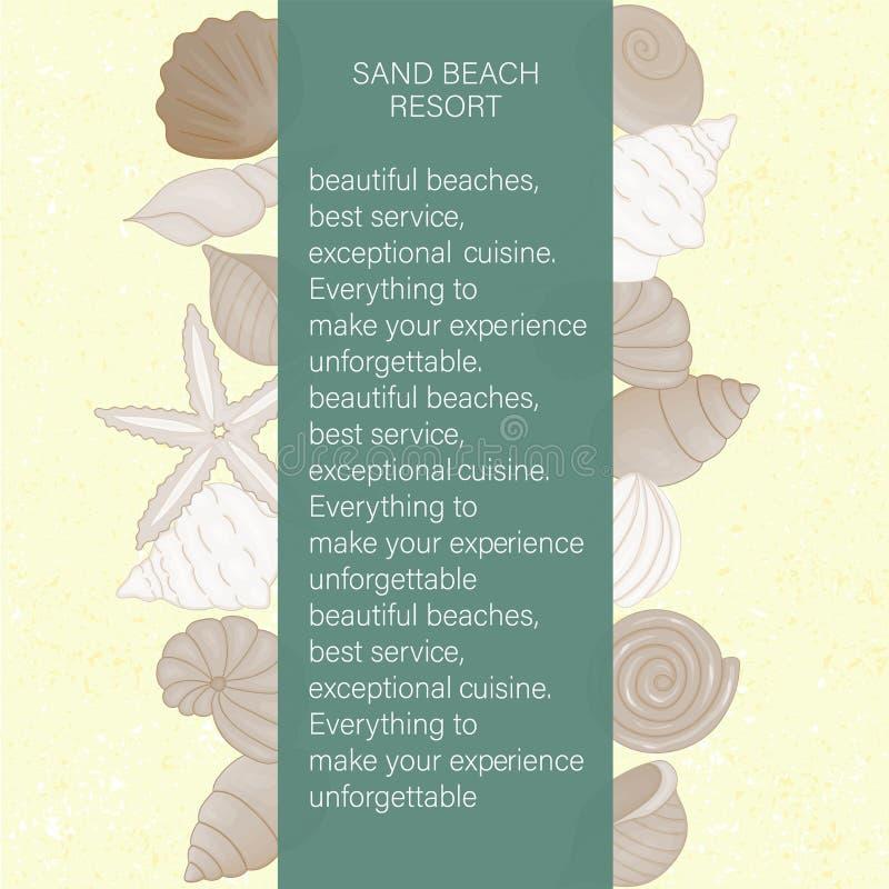 贝壳传染媒介彩色组在黄沙的象织地不很细背景 向量例证