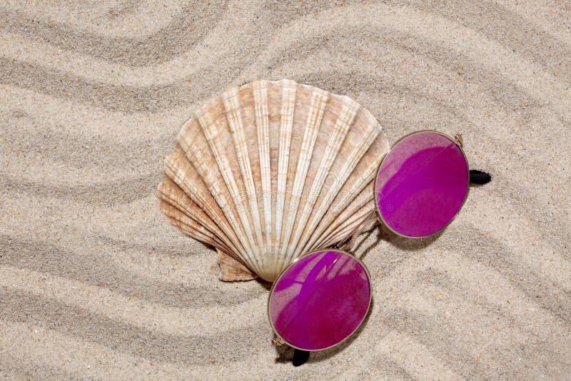 贝壳和一个对在沙子的太阳镜与您的文本的拷贝空间 免版税图库摄影